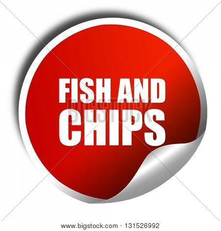 fish and chips, 3D rendering, a red shiny sticker