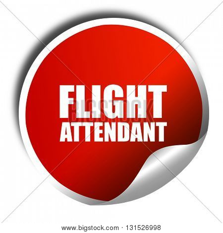 flight attendant, 3D rendering, a red shiny sticker