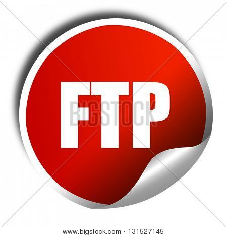 ftp, 3D rendering, a red shiny sticker