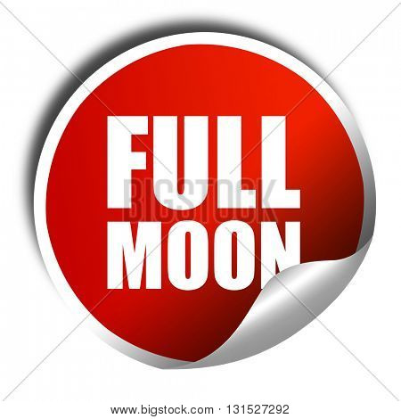 full moon, 3D rendering, a red shiny sticker
