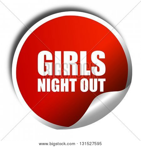 girls night out, 3D rendering, a red shiny sticker