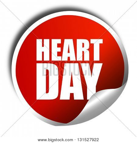 heart day, 3D rendering, a red shiny sticker
