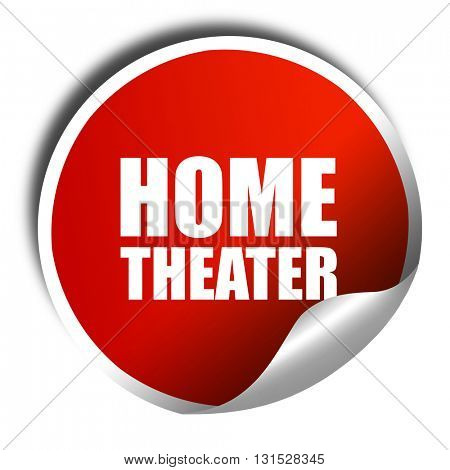 home theater, 3D rendering, a red shiny sticker