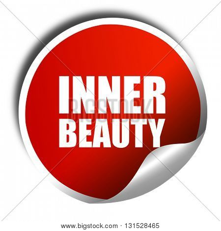 inner beauty, 3D rendering, a red shiny sticker