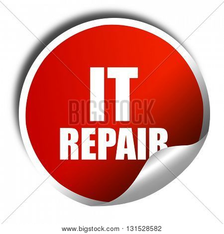 it repair, 3D rendering, a red shiny sticker