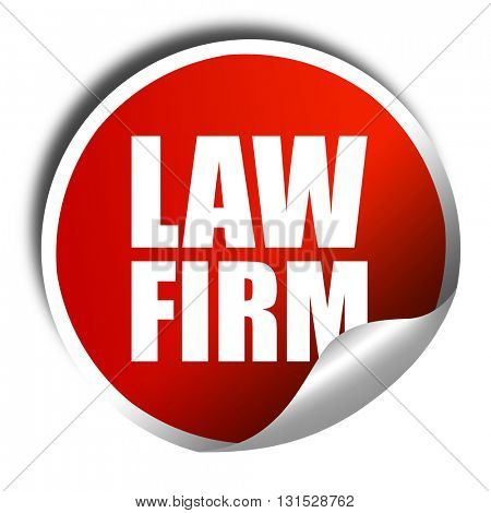 law firm, 3D rendering, a red shiny sticker