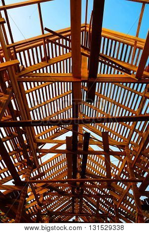 Roof structure wood roof. Thai style architecture