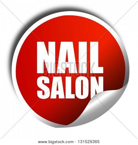 nail salon, 3D rendering, a red shiny sticker