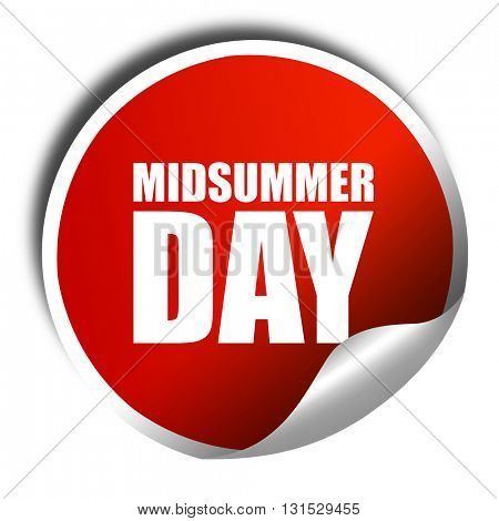 midsummer day, 3D rendering, a red shiny sticker