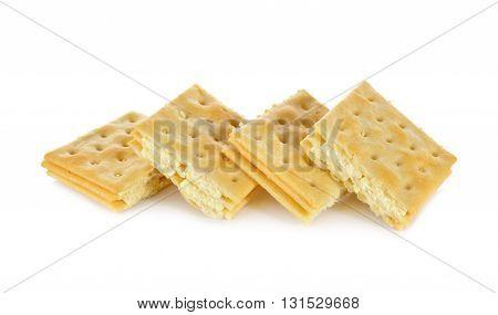 sandwich cracker butter flavored cream on white background