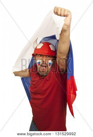 Russian fans at the stadium. Football, soccer fan