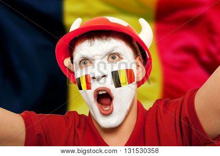 Belgian fans at the stadium. Football, soccer fan
