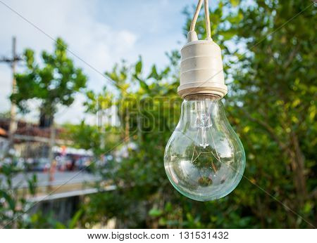The Lamp  For Decoration In The Garden With Bokeh Background, Soft Focus At Lamp