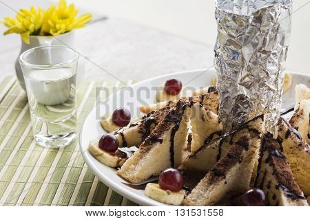 Honey Toast And Banana Wtih Dry Ice On Table Background