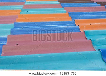 Color Ful Tiles Or Zinc Roof Background