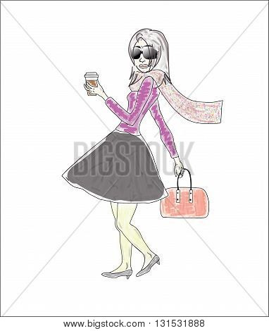 Vector illustration of a woman walking with coffee and bag