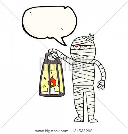 freehand drawn speech bubble cartoon mummy
