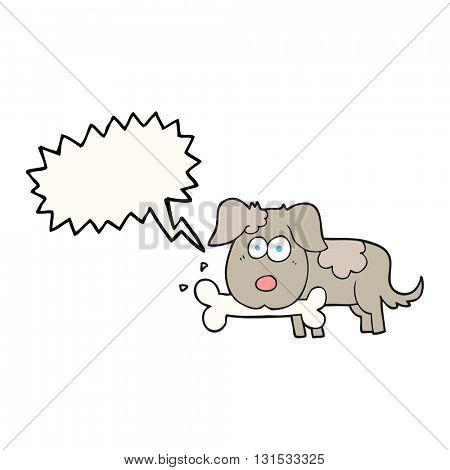 freehand drawn speech bubble cartoon dog with bone