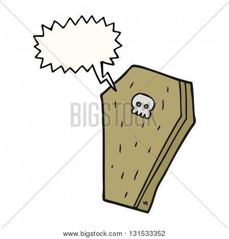 freehand drawn speech bubble cartoon halloween coffin