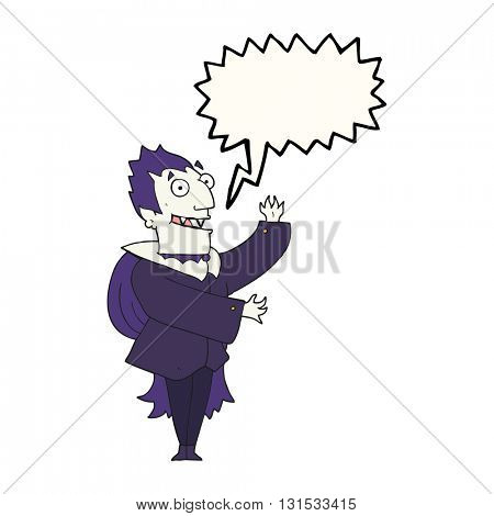 freehand drawn speech bubble cartoon vampire