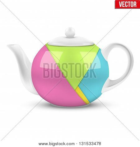 White ceramic teapot with material design. Vector illustration Isolated of background.