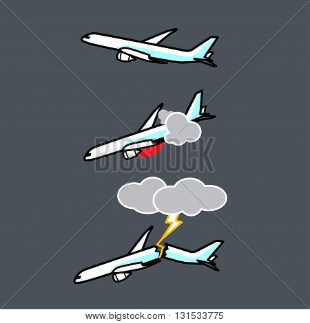 Vector and icon of plane accident and gray background.