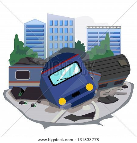 Vector of train accident and background building.