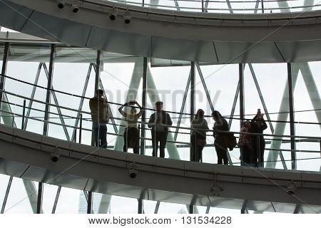 LONDON, UK - SEPTEMBER 19, 2015: People at the spiral stairs in Mayor of London