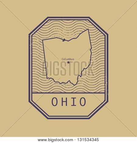Stamp with the name and map of Ohio, United States, vector illustration