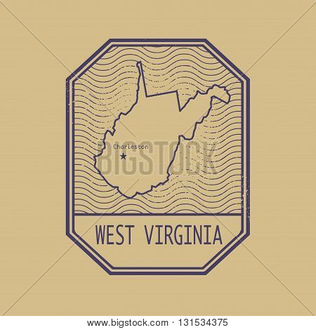 Stamp with the name and map of West Virginia, United States, vector illustration