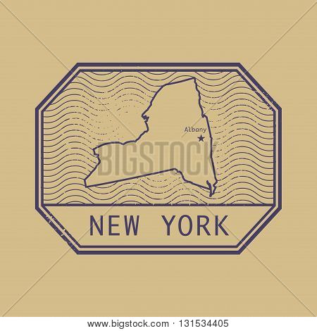 Stamp with the name and map of New York, United States, vector illustration