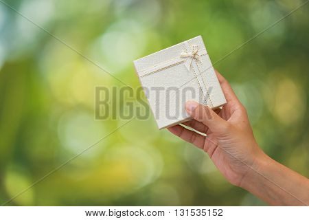 Hands holding give box a special gift to someone.