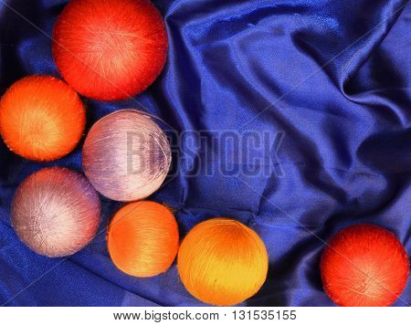 The colorful silk ball background or texture