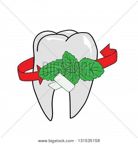Chewing gum and fresh mint leaves in the background tooth isolated on white background, vector illustration