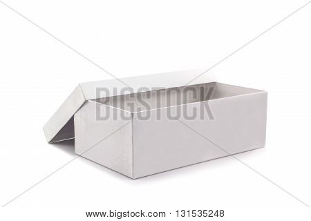 White shoe box on white background with clipping path. For shoes electronic device and other products.