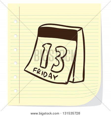 Vector illustration of calendar in doodle cartoon style