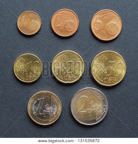 Euro Coins Flat Lay
