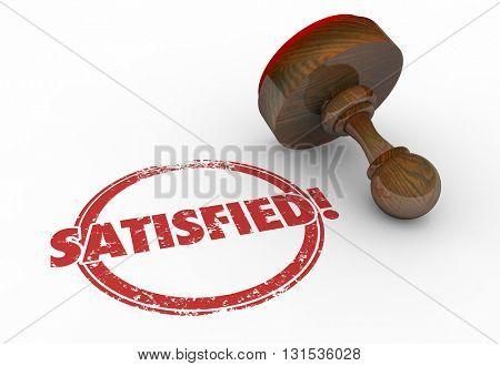 Satisfied Stamp Word Customer Service 3d Illustration