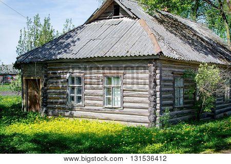 Village House, green lawn, spring summer village