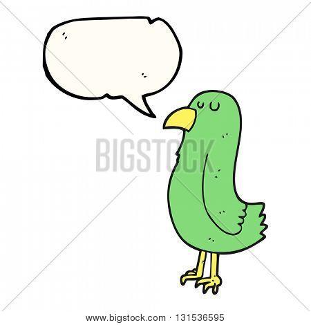 freehand drawn speech bubble cartoon parrot