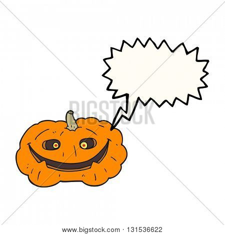freehand drawn speech bubble cartoon pumpkin