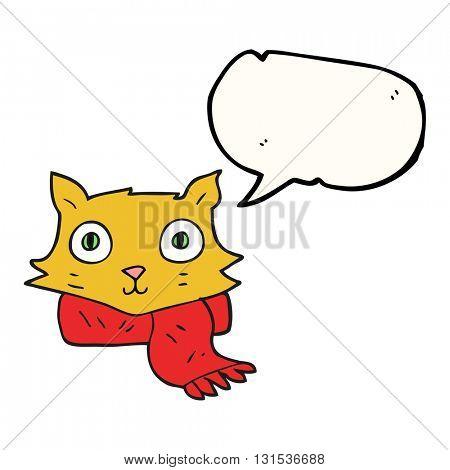 freehand drawn speech bubble cartoon cat wearing scarf