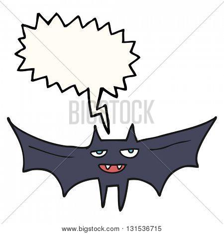 freehand drawn speech bubble cartoon halloween bat