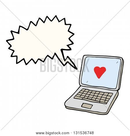 freehand drawn speech bubble cartoon laptop computer with heart symbol on screen