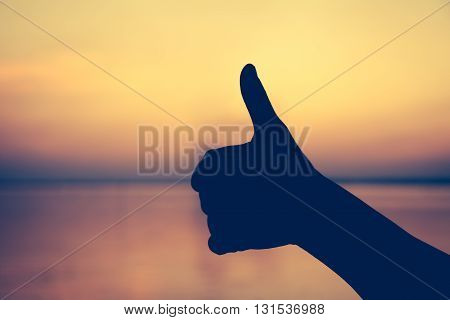 Hand Thumb Up. Gesture Of The Hand. Symbol Is Mean To Good, Like. Achievement Concept.