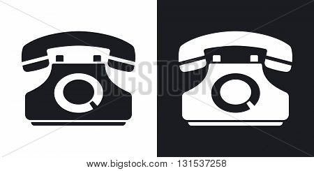 Vector telephone icon. Two-tone version on black and white background