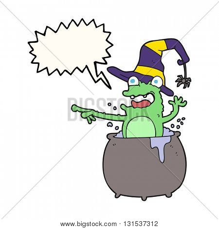 freehand drawn speech bubble cartoon halloween toad