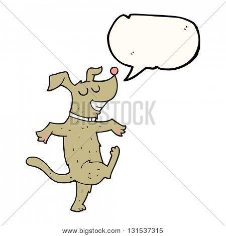freehand drawn speech bubble cartoon dancing dog
