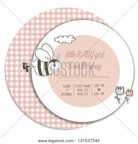 pastel baby girl shower card vector illustration