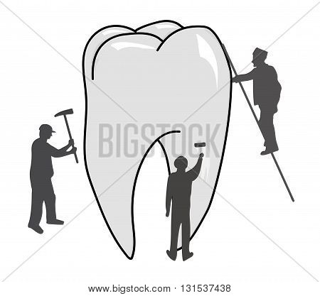 workers working on a tooth. the concept of dental treatment. vector illustration